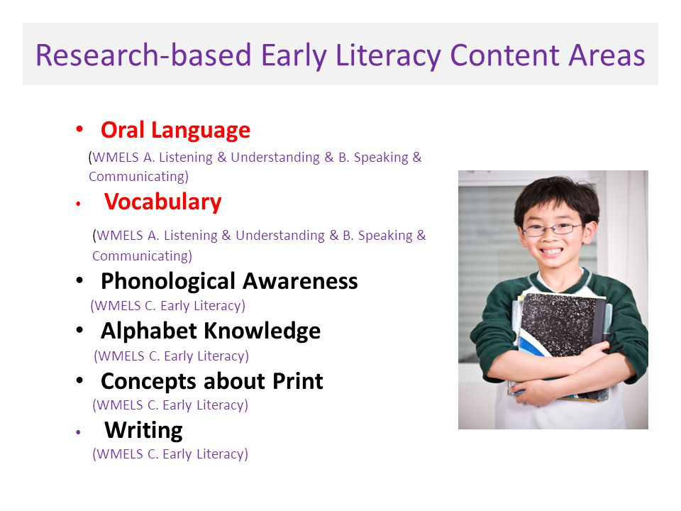Research-based Early Literacy Content Areas Oral Language (WMELS A.