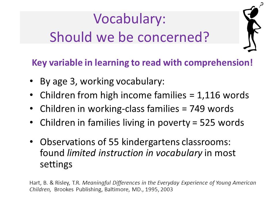 Vocabulary: Should we be concerned. Key variable in learning to read with comprehension.