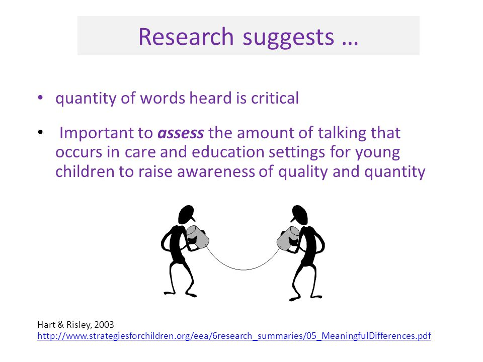 Research suggests … quantity of words heard is critical Important to assess the amount of talking that occurs in care and education settings for young