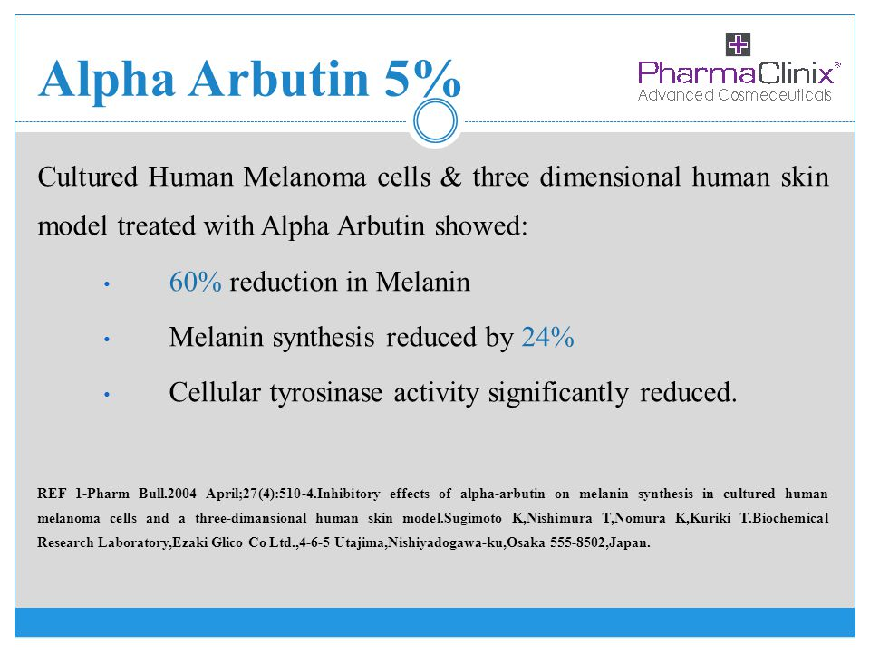 Alpha Arbutin 5% Cultured Human Melanoma cells & three dimensional human skin model treated with Alpha Arbutin showed: 60% reduction in Melanin Melani