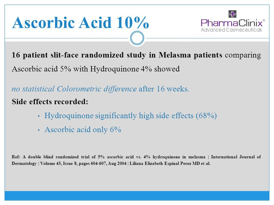 Ascorbic Acid 10% 16 patient slit-face randomized study in Melasma patients comparing Ascorbic acid 5% with Hydroquinone 4% showed no statistical Colo