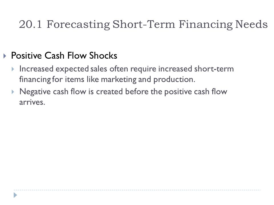 20.1 Forecasting Short-Term Financing Needs  Positive Cash Flow Shocks  Increased expected sales often require increased short-term financing for it