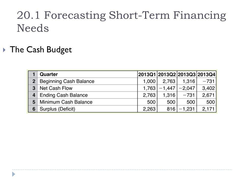 20.1 Forecasting Short-Term Financing Needs  The Cash Budget
