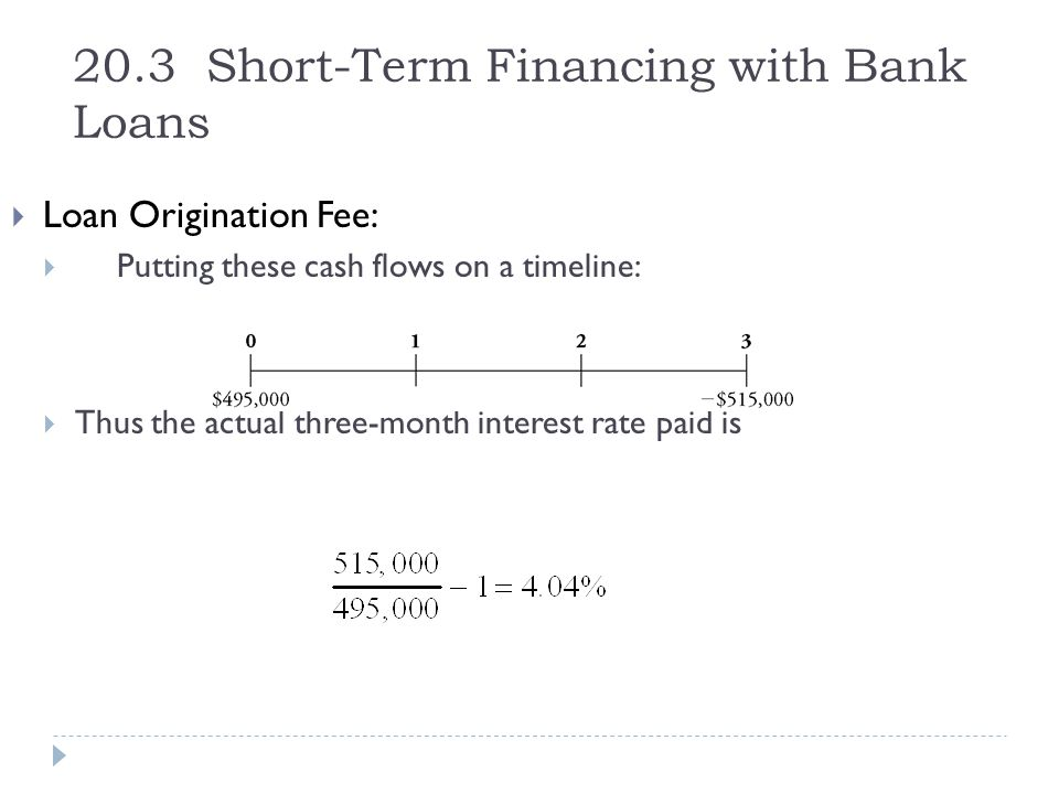 20.3 Short-Term Financing with Bank Loans  Loan Origination Fee:  Putting these cash flows on a timeline:  Thus the actual three-month interest rat