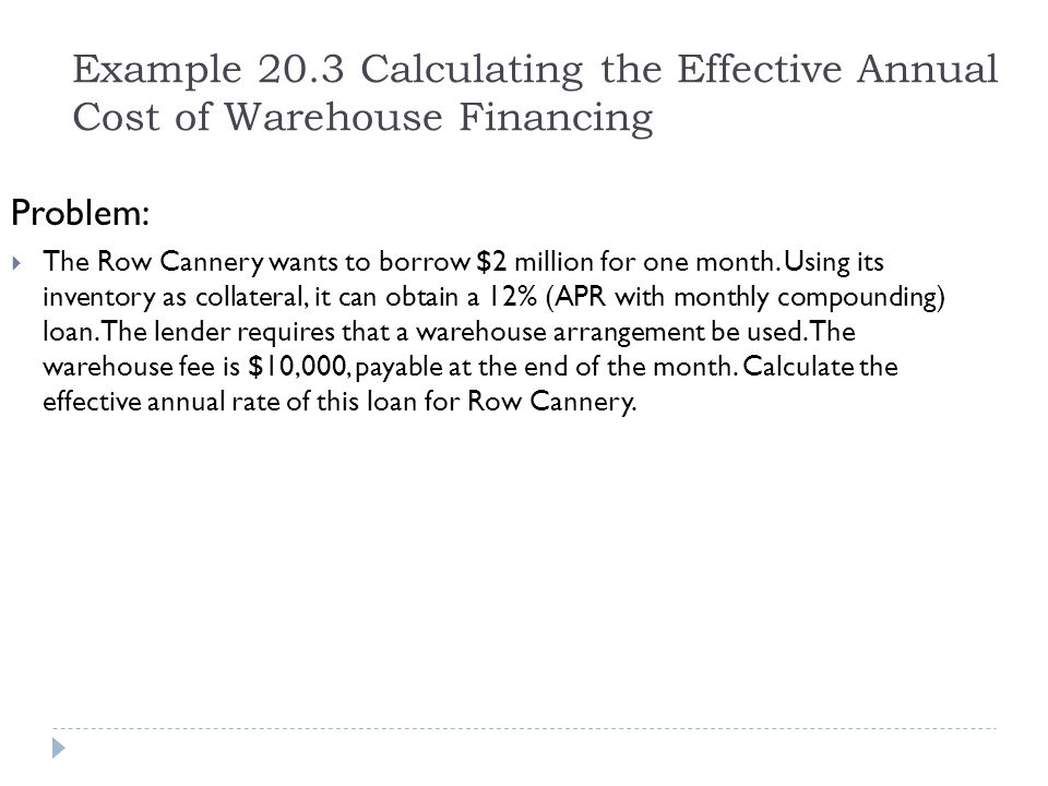 Example 20.3 Calculating the Effective Annual Cost of Warehouse Financing Problem:  The Row Cannery wants to borrow $2 million for one month. Using i