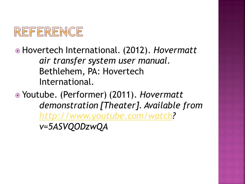  Hovertech International. (2012). Hovermatt air transfer system user manual.