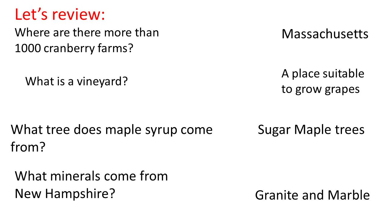 Let's review: Where are there more than 1000 cranberry farms? Massachusetts What tree does maple syrup come from? Sugar Maple trees What minerals come