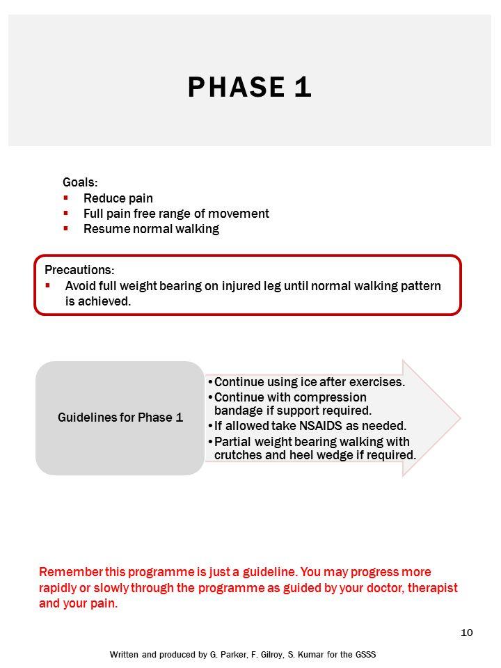PHASE 1 Goals:  Reduce pain  Full pain free range of movement  Resume normal walking Precautions:  Avoid full weight bearing on injured leg until