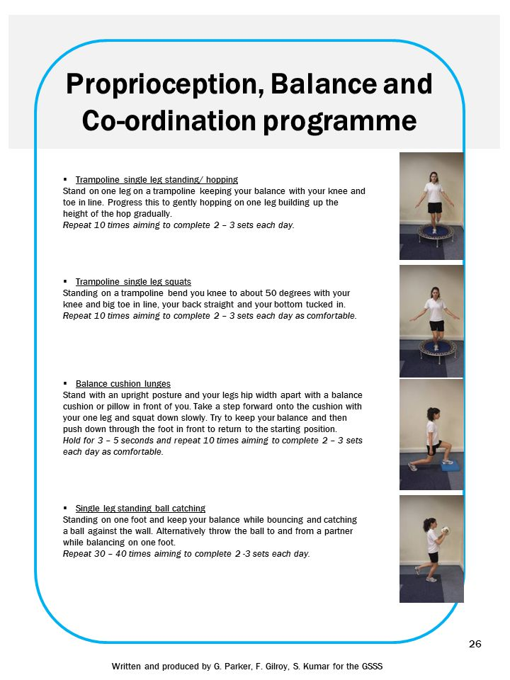 Proprioception, Balance and Co-ordination programme  Trampoline single leg standing/ hopping Stand on one leg on a trampoline keeping your balance wi