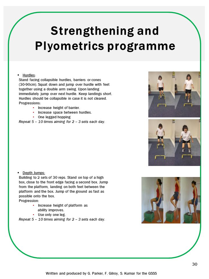 Strengthening and Plyometrics programme 30 Written and produced by G. Parker, F. Gilroy, S. Kumar for the GSSS  Hurdles: Stand facing collapsible hur