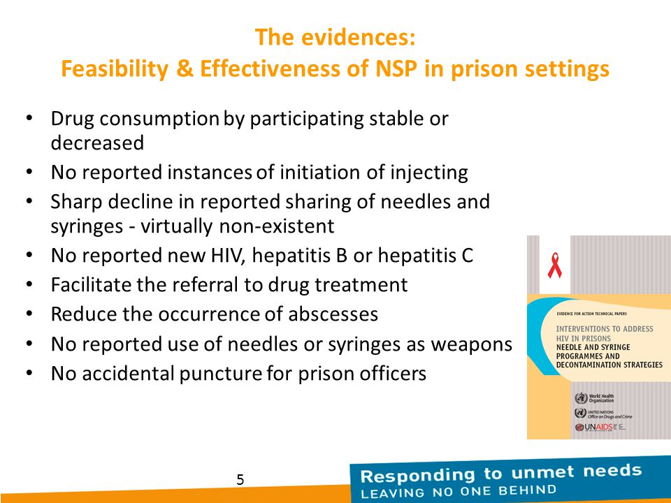 5 The evidences: Feasibility & Effectiveness of NSP in prison settings Drug consumption by participating stable or decreased No reported instances of initiation of injecting Sharp decline in reported sharing of needles and syringes - virtually non-existent No reported new HIV, hepatitis B or hepatitis C Facilitate the referral to drug treatment Reduce the occurrence of abscesses No reported use of needles or syringes as weapons No accidental puncture for prison officers