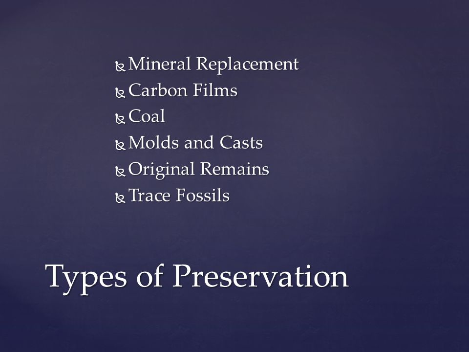  Mineral Replacement  Carbon Films  Coal  Molds and Casts  Original Remains  Trace Fossils Types of Preservation