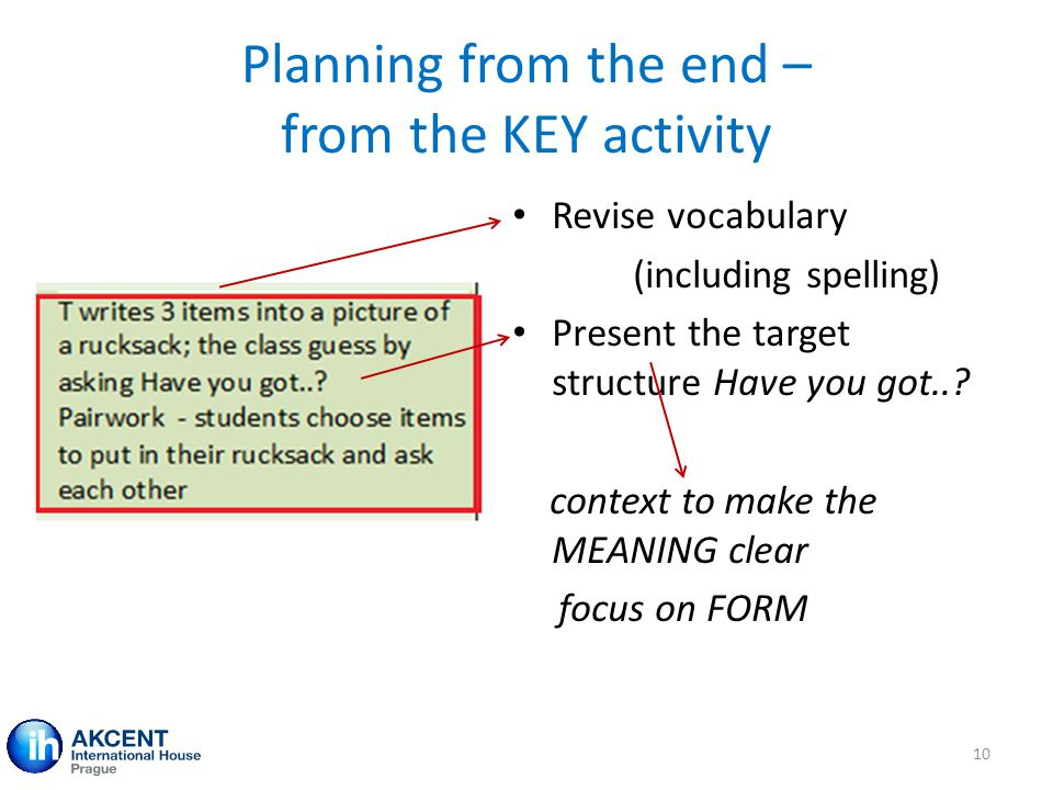 Planning from the end – from the KEY activity Revise vocabulary (including spelling) Present the target structure Have you got..? context to make the