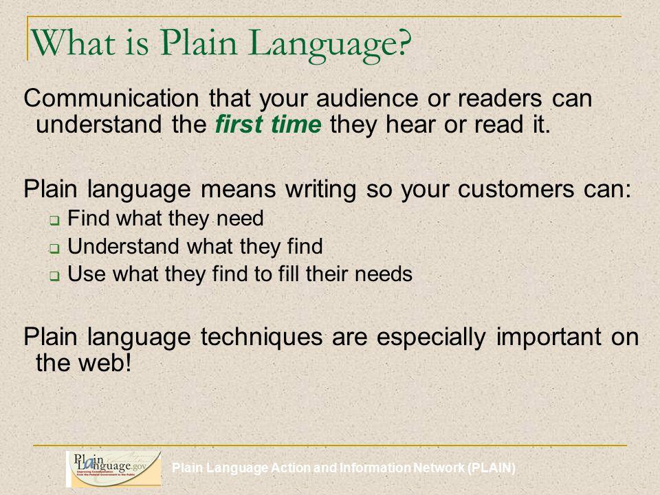 Plain Language Action and Information Network (PLAIN) Remember.