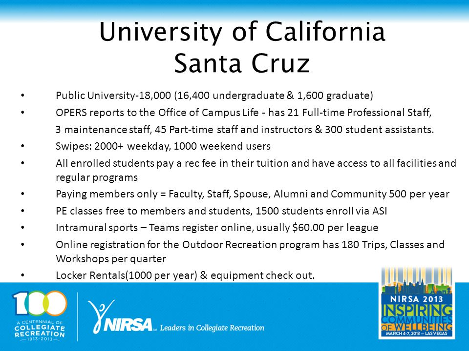 Public University-18,000 (16,400 undergraduate & 1,600 graduate) OPERS reports to the Office of Campus Life - has 21 Full-time Professional Staff, 3 maintenance staff, 45 Part-time staff and instructors & 300 student assistants.