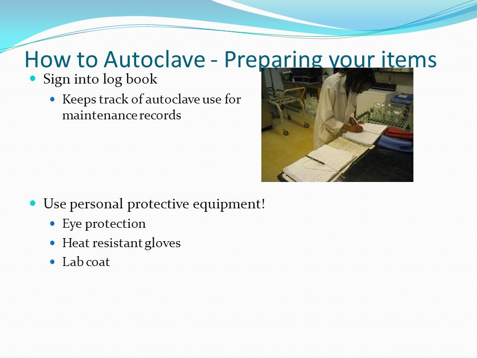 How to Autoclave- Which cycle to use Autoclaves run 3 types of cycle programs The type of cycle depends on what is being autoclaved: Liquid/Slow exhaust* For autoclaving liquids * Prevents liquids from boiling over Solid/Gravity* Best for unwrapped solid items (ie glassware) Solid/Vacuum* Best for wrapped solid items
