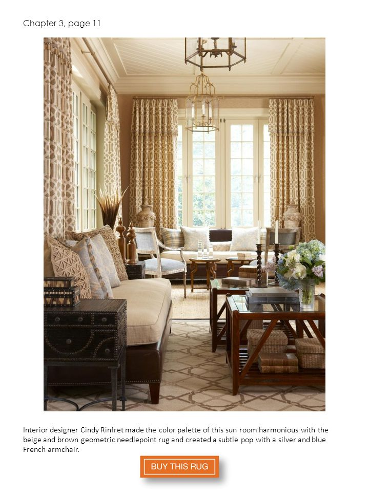 Chapter 3, page 11 Interior designer Cindy Rinfret made the color palette of this sun room harmonious with the beige and brown geometric needlepoint rug and created a subtle pop with a silver and blue French armchair.