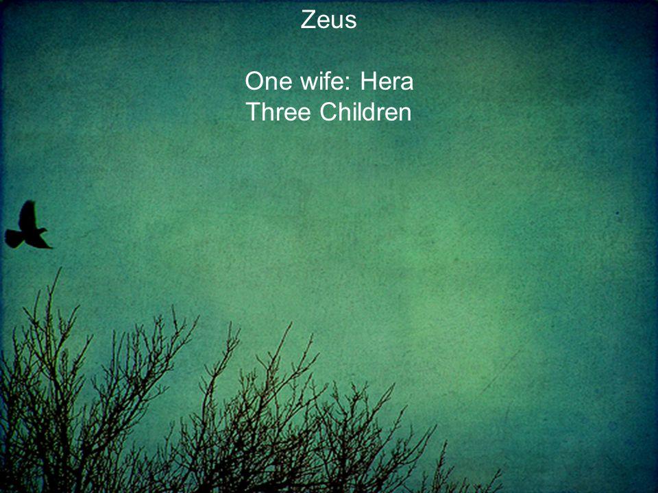One wife: Hera Three Children