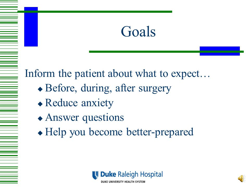 Goals Inform the patient about what to expect…  Before, during, after surgery  Reduce anxiety  Answer questions  Help you become better-prepared