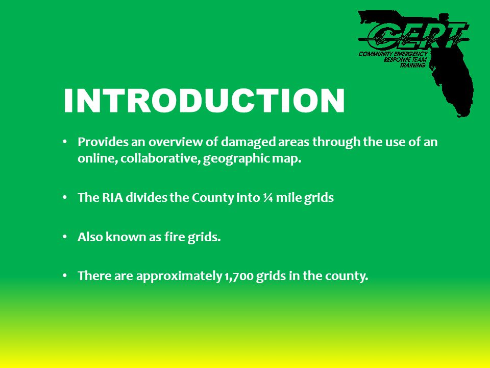 INTRODUCTION Provides an overview of damaged areas through the use of an online, collaborative, geographic map.