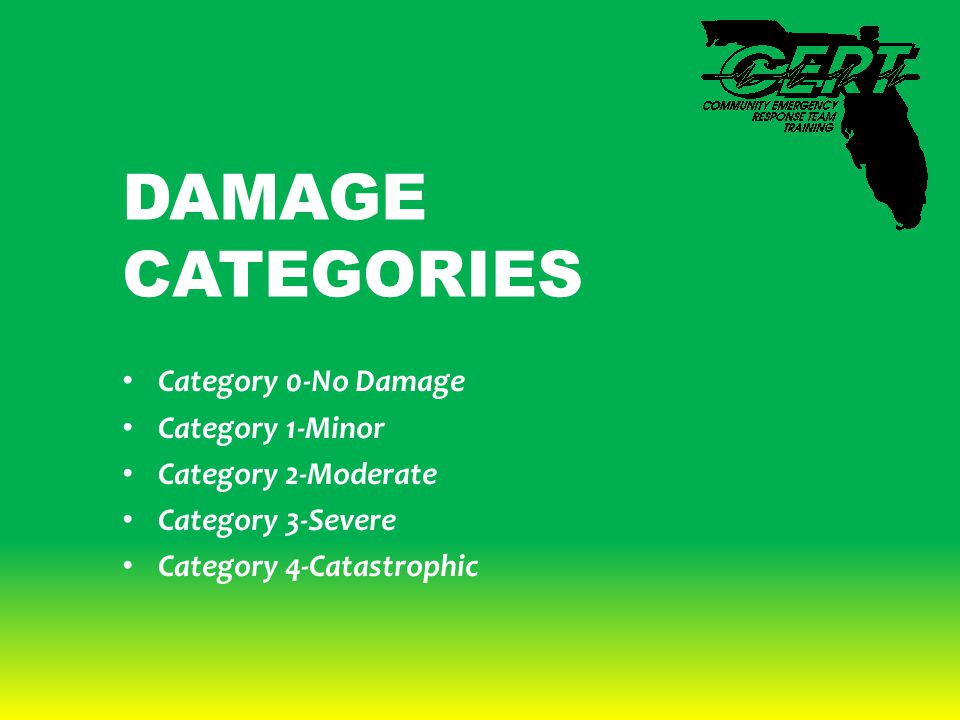 DAMAGE CATEGORIES Category 0-No Damage Category 1-Minor Category 2-Moderate Category 3-Severe Category 4-Catastrophic