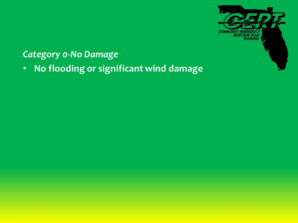 Category 0-No Damage No flooding or significant wind damage
