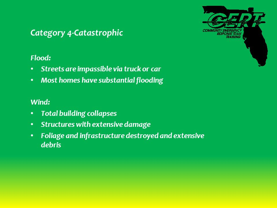 Category 4-Catastrophic Flood: Streets are impassible via truck or car Most homes have substantial flooding Wind: Total building collapses Structures with extensive damage Foliage and infrastructure destroyed and extensive debris