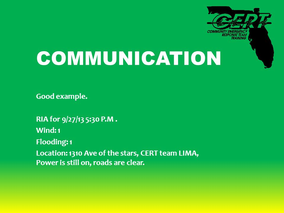 COMMUNICATION Good example. RIA for 9/27/13 5:30 P.M.