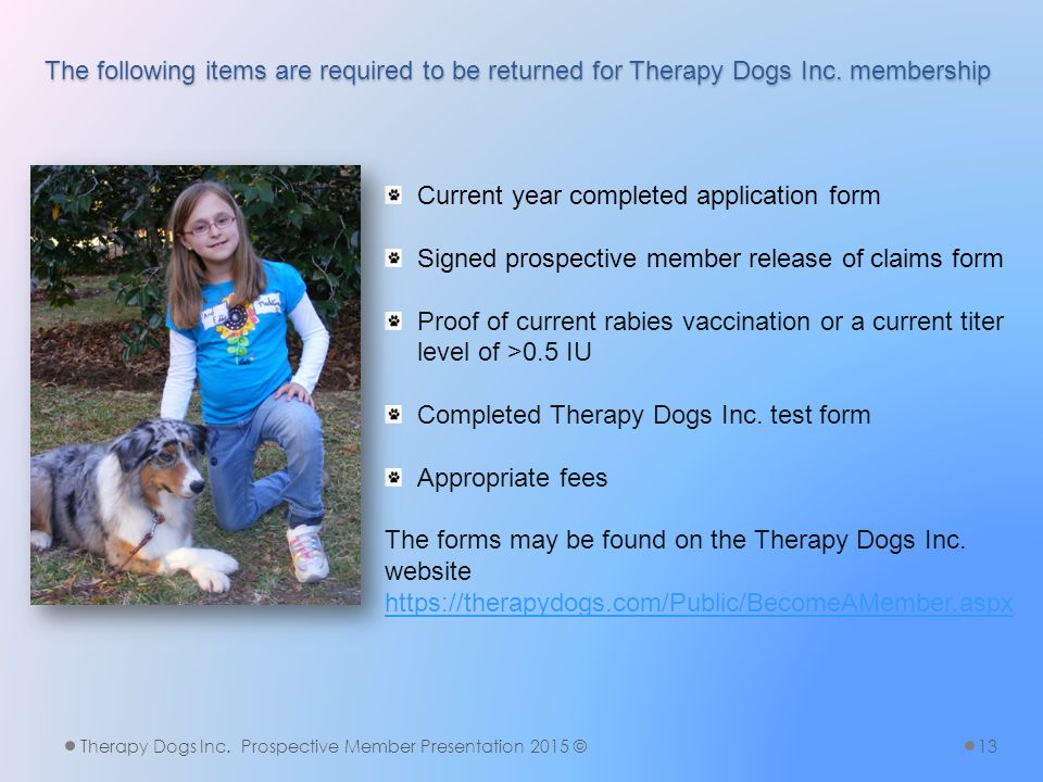 The following items are required to be returned for Therapy Dogs Inc.