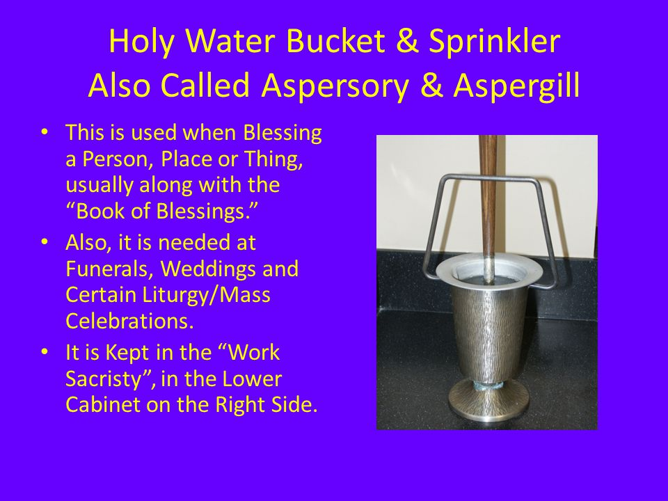 """Holy Water Bucket & Sprinkler Also Called Aspersory & Aspergill This is used when Blessing a Person, Place or Thing, usually along with the """"Book of B"""