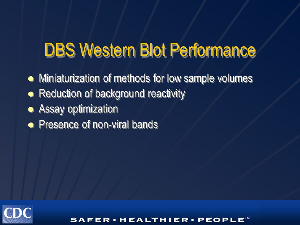 DBS Western Blot Performance Miniaturization of methods for low sample volumes Reduction of background reactivity Assay optimization Presence of non-v