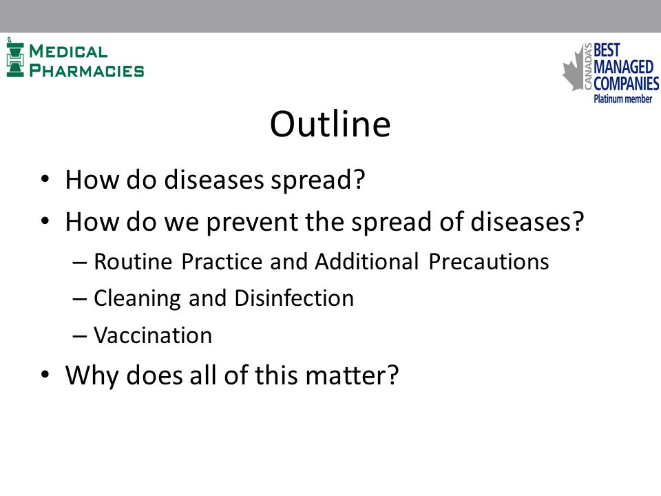 Outline How do diseases spread.How do we prevent the spread of diseases.