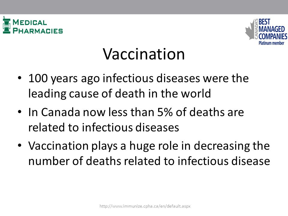 Vaccination 100 years ago infectious diseases were the leading cause of death in the world In Canada now less than 5% of deaths are related to infectious diseases Vaccination plays a huge role in decreasing the number of deaths related to infectious disease http://www.immunize.cpha.ca/en/default.aspx