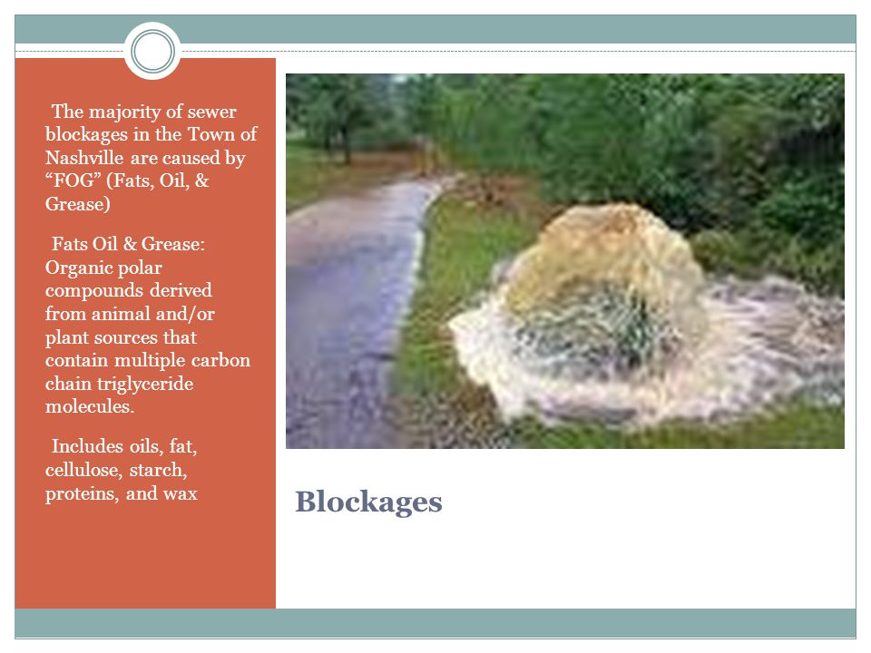 Blockages - The majority of sewer blockages in the Town of Nashville are caused by FOG (Fats, Oil, & Grease) - Fats Oil & Grease: Organic polar compounds derived from animal and/or plant sources that contain multiple carbon chain triglyceride molecules.
