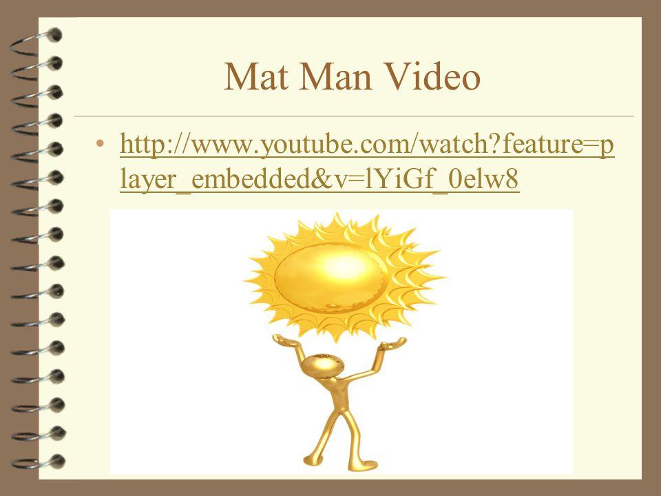 Mat Man Video http://www.youtube.com/watch?feature=p layer_embedded&v=lYiGf_0elw8http://www.youtube.com/watch?feature=p layer_embedded&v=lYiGf_0elw8