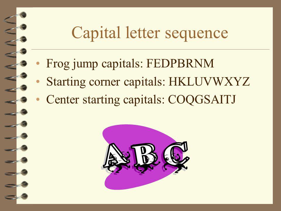 Capital letter sequence Frog jump capitals: FEDPBRNM Starting corner capitals: HKLUVWXYZ Center starting capitals: COQGSAITJ