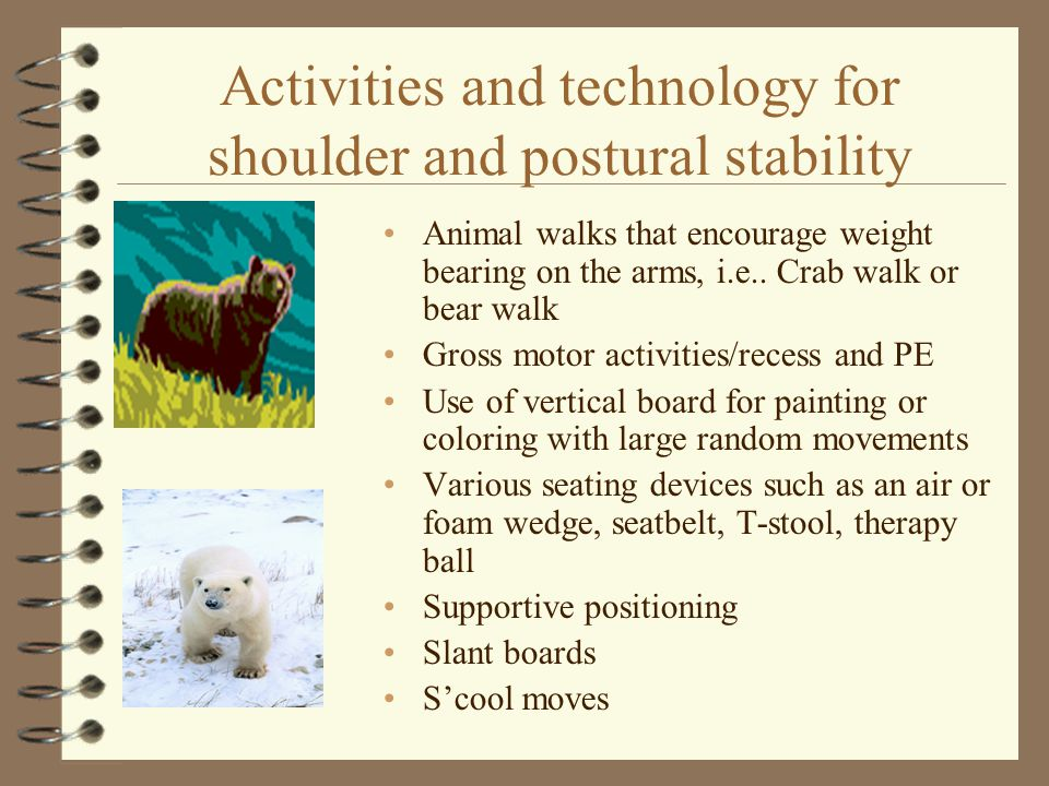 Activities and technology for shoulder and postural stability Animal walks that encourage weight bearing on the arms, i.e.. Crab walk or bear walk Gro