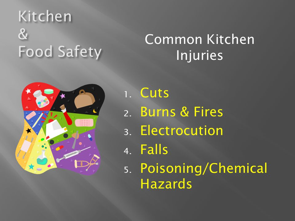 Kitchen & Food Safety Using Knives Safely Keep knives sharp Cut away from body If knife falls, jump back and let it drop Wash separately from other items Use knife properly PREVENTING CUTS