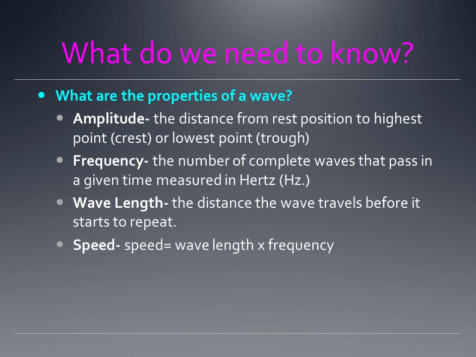 What do we need to know. What are the properties of a wave.