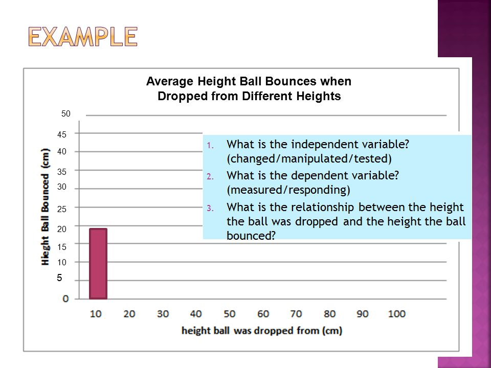 Average Height Ball Bounces when Dropped from Different Heights 5 10 15 20 25 30 35 40 45 50