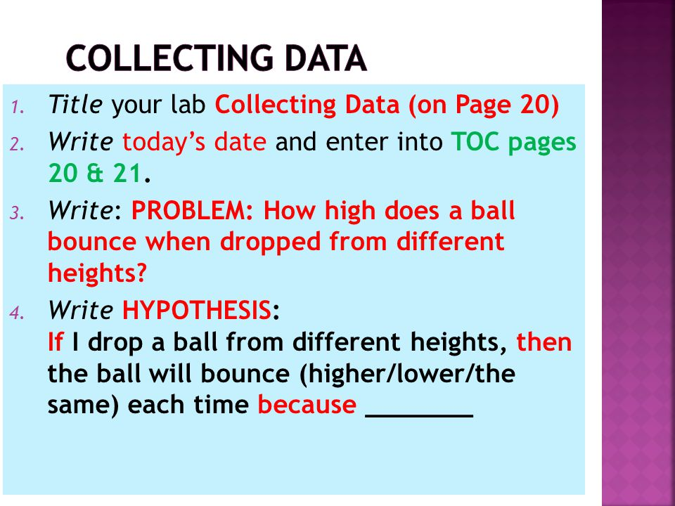 1. Title your lab Collecting Data (on Page 20) 2.
