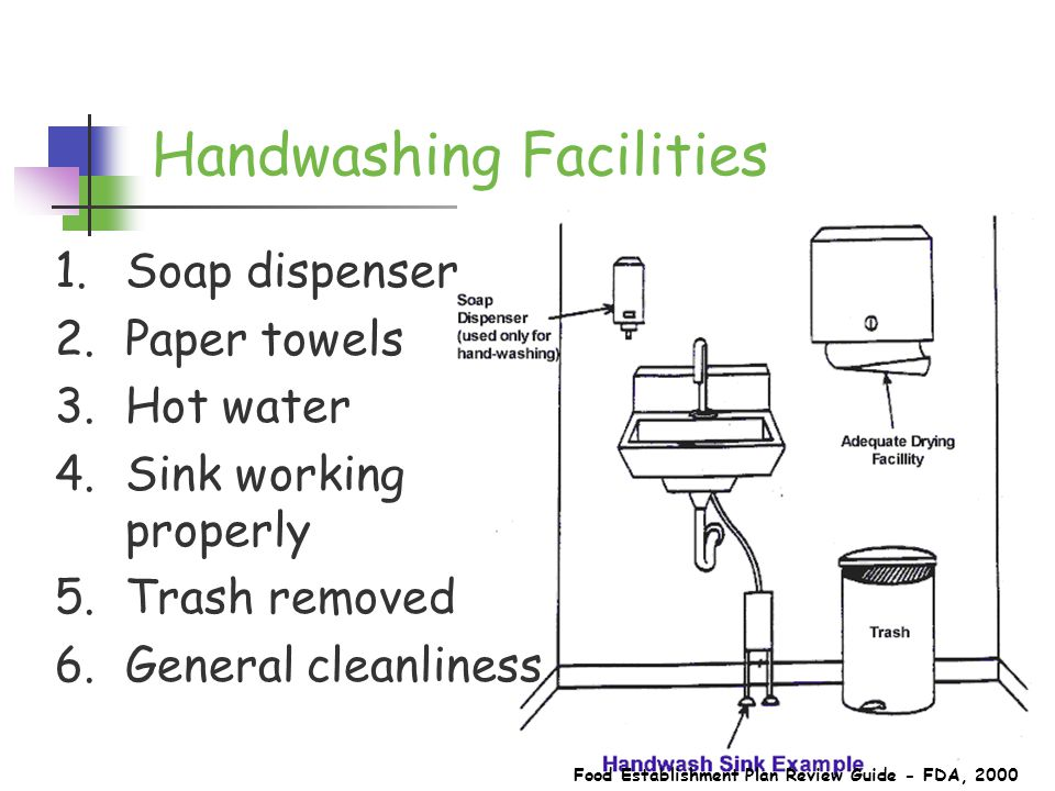 Handwashing Facilities Food Establishment Plan Review Guide - FDA, 2000 1.Soap dispenser 2.Paper towels 3.Hot water 4.Sink working properly 5.Trash removed 6.General cleanliness
