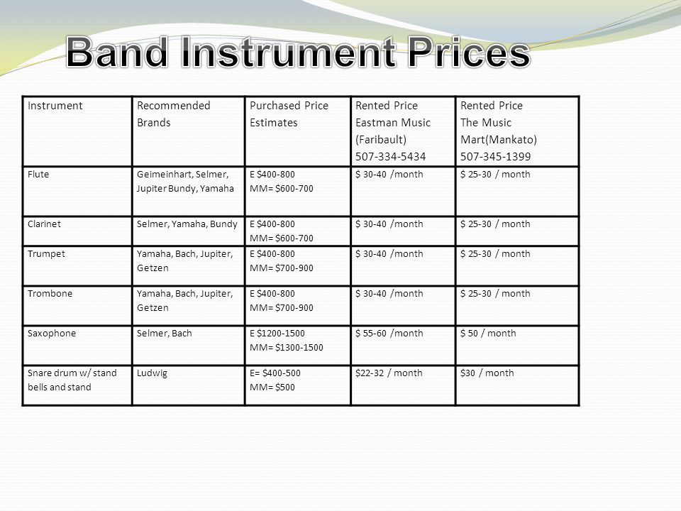 Band Parent Information I would like to have the students bring their instruments and Essential Elements book by the second week of school.
