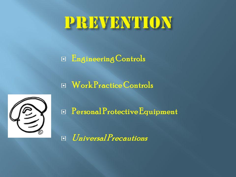  Engineering Controls  Work Practice Controls  Personal Protective Equipment  Universal Precautions
