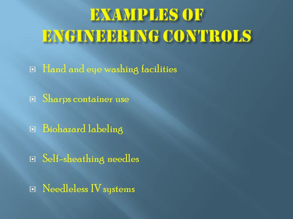  Hand and eye washing facilities  Sharps container use  Biohazard labeling  Self-sheathing needles  Needleless IV systems