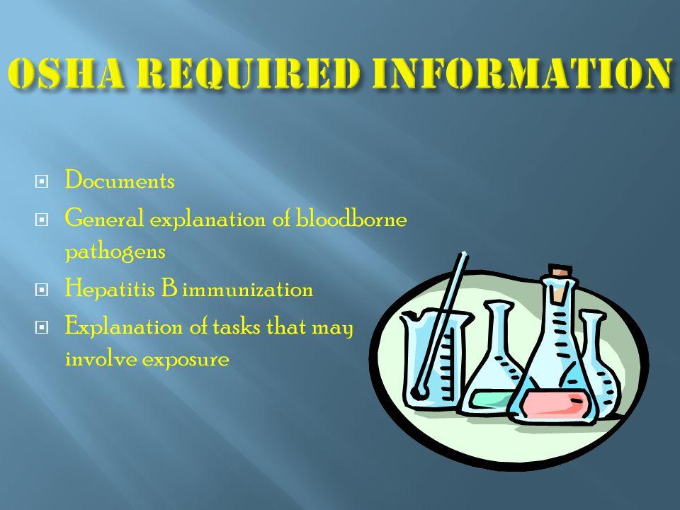  Documents  General explanation of bloodborne pathogens  Hepatitis B immunization  Explanation of tasks that may involve exposure