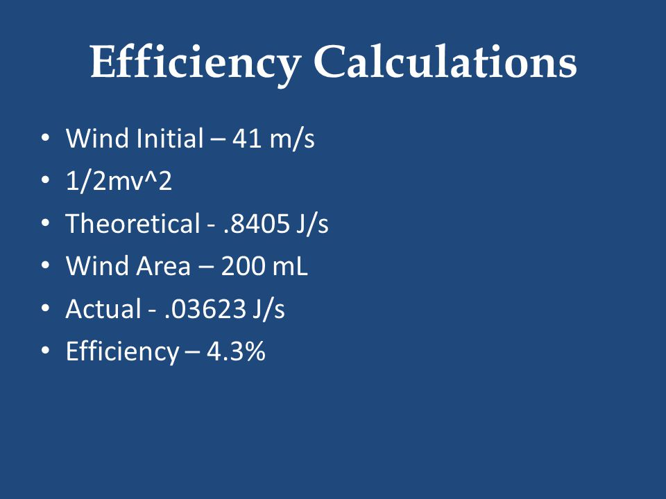 Efficiency Calculations Wind Initial – 41 m/s 1/2mv^2 Theoretical -.8405 J/s Wind Area – 200 mL Actual -.03623 J/s Efficiency – 4.3%