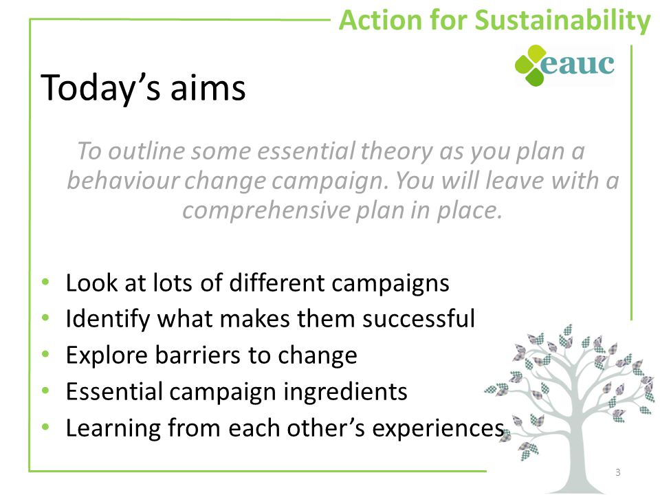Today's aims To outline some essential theory as you plan a behaviour change campaign.