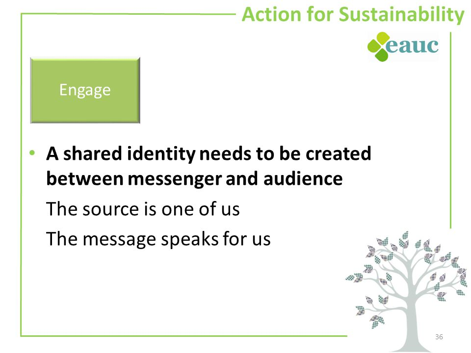 A shared identity needs to be created between messenger and audience The source is one of us The message speaks for us 36 Engage