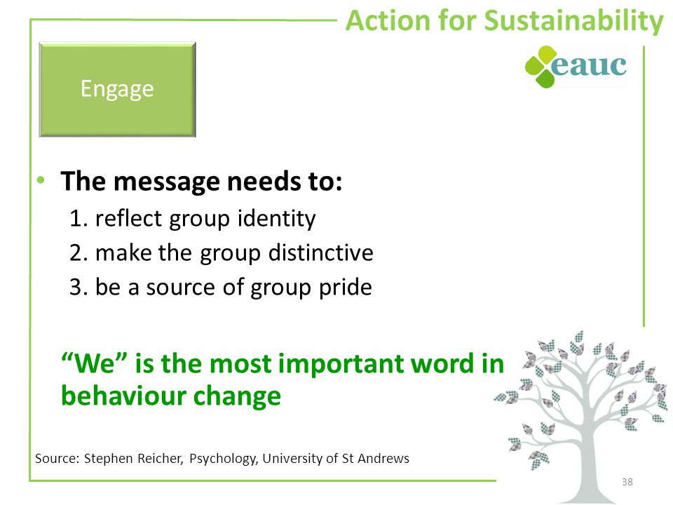 """The message needs to: 1. reflect group identity 2. make the group distinctive 3. be a source of group pride """"We"""" is the most important word in behavio"""